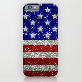 Glitter Sparkle American Flag Pattern iPhone Case