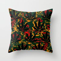 rasta Throw Pillows featuring Rasta Leaves... by Cherie DeBevoise