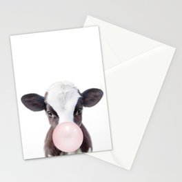 Bubble Gum Baby Cow Stationery Cards