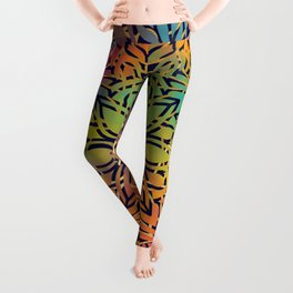 Bohemian 1960's Mandala Pattern of Freedom Leggings