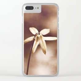 Copper Nature Photography, Modern Brown Minimalism Flower Art, Copper Botanical Minimal Print Clear iPhone Case