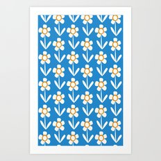 Summer retro flowers Art Print