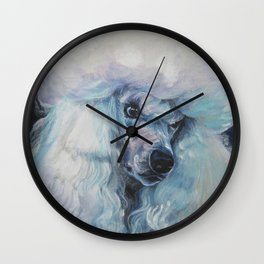 white POODLE dog art portrait from an original painting by L.A.Shepard Wall Clock