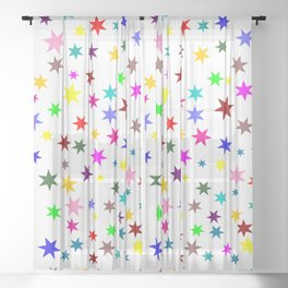 Colorful stars Sheer Curtain