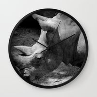 rhino Wall Clocks featuring rhino by Cindy Munroe Photography