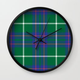 Classic Christmas Blue and Green Plaid Tartan Pattern Wall Clock