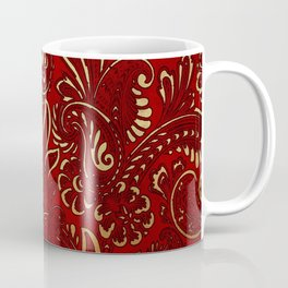 Red Burgundy Deep Gold Paisley Floral Pattern Print Coffee Mug