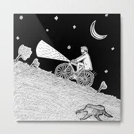 Cycling in the dark Metal Print