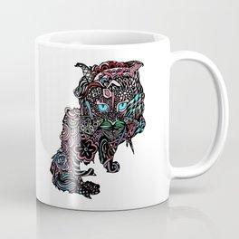 Floral Cat - Red Coffee Mug