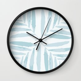 Geometric pale blue light blue autumn fall tropic pattern Palm leaves , society6 Wall Clock
