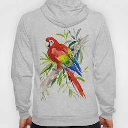 Scarlet Macaw, jungle tropical home decor bright colored parrot foliage Hoody