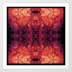 Brother Meditation - red purple Art Print