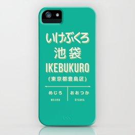 Retro Vintage Japan Train Station Sign - Ikebukuro Tokyo Green iPhone Case