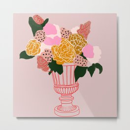 Bouquet of shapes - Floral Illustration - floral print - Flowers in urn vase Metal Print