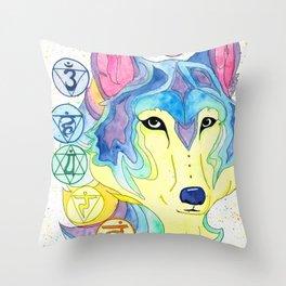 Chakra Wolf Throw Pillow