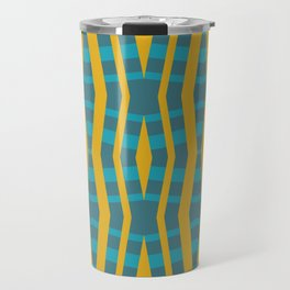 allison - wonky blue green and yellow abstract design Travel Mug