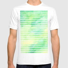 Houndstooth green watercolor White Mens Fitted Tee MEDIUM