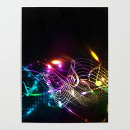 Music Notes in Color Poster