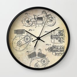 1943 Paper Indian Motor Company Drive Shaft for Motorcycles Patent Wall Clock
