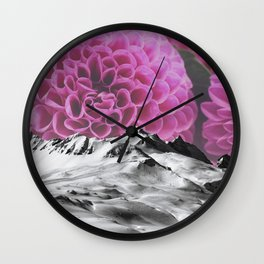 Ice Capped Dahlias Wall Clock