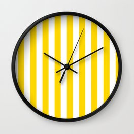 Narrow Vertical Stripes - White and Gold Yellow Wall Clock