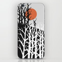 Red sun with deer iPhone Skin