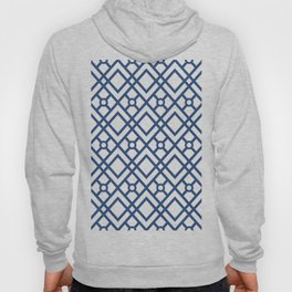 Modern Geometric Diamonds and Circles Pattern Navy Blue and White Hoody
