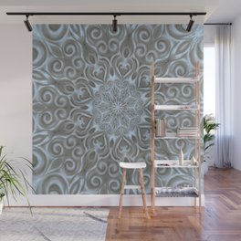 Light Blue Center Swirl Mandala Wall Mural