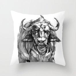African Water Buffalo Throw Pillow