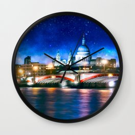 Starry Night Over London's St Paul's Cathedral Wall Clock