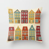 amsterdam Throw Pillows featuring Amsterdam by olillia