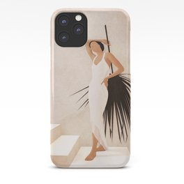 Minimal Woman with a Palm Leaf iPhone Case
