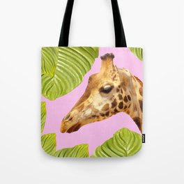 Giraffe with green leaves on a pink background Tote Bag