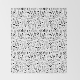 Stick and Poke Tattoo Throw Blanket