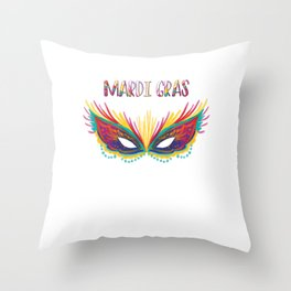 Colorful Mask Mardi Gras Street Party Carnival Throw Pillow