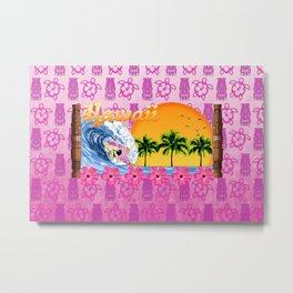 Pink Tiki And Hawaiian Surfing  Metal Print