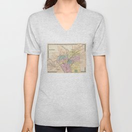 Vintage Map of Dayton Ohio (1872) Unisex V-Neck