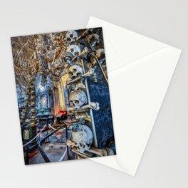 Sedlec Ossuary Column Photo Art, Skull Bone Church Stationery Cards