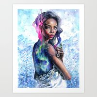 northern lights Art Prints featuring Northern Lights by Tanya Shatseva