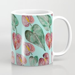 Botanical on Turquoise. Tropical Plants. Coffee Mug