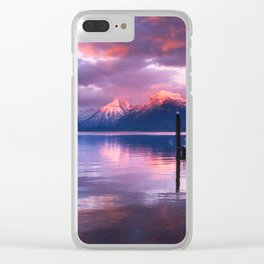 Boat dock at Lake McDonald Clear iPhone Case