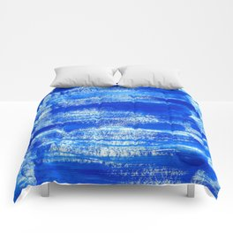Cool & Calming Cobalt Blue Paint on White  Comforters