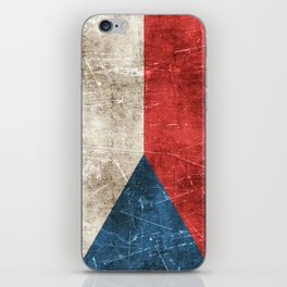 Vintage Aged and Scratched Czech Flag iPhone Skin