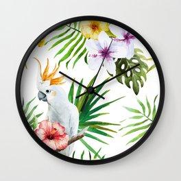 Tropical Bird Pattern 03 Wall Clock