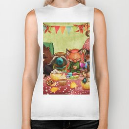 Woodland Friends at Teatime in Forest Biker Tank