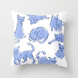 Cat Crazy blue white Throw Pillow