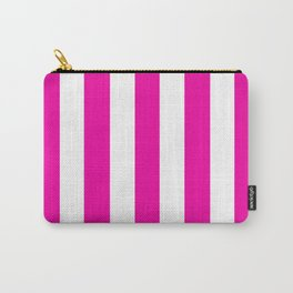 Hollywood cerise pink - solid color - white vertical lines pattern Carry-All Pouch
