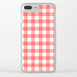 Red gingham fabric cloth, seamless pattern Clear iPhone Case