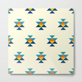 Small colorful aztec elements on cream pattern Metal Print