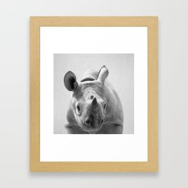 Baby Rhino - Black & White Framed Art Print